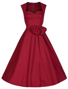 Vintage Women's Sweetheart Neck Bowknot Embellished Sleeveless Dress