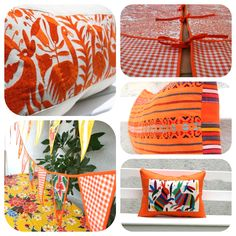 Orange is trending!  Casaotomi Otomi oilcloth Mexican textiles hand embroidered cushions pillows