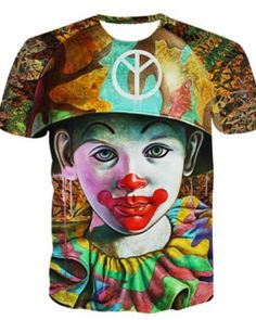 c548d4e884f8e7 Clown 3D t shirt for men short sleeve Mens Casual T Shirts