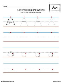 Letter A Tracing and Writing Printable Worksheet (Color) Worksheet.Practice tracing and writing the uppercase and lowercase letter A in this printable worksheet.