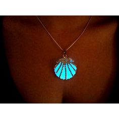 Glow in the Dark Mermaid Necklace, Glowing Seashell Necklace, Glow Sea... ($22) ❤ liked on Polyvore featuring jewelry, necklaces, aqua blue jewelry, aqua necklace, seashell pendant, pendant jewelry and shell pendant