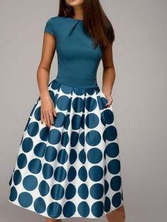 Cap Sleeve Polka Dots Women's Day Dress, Women's Dress, Oberlo - Smash Marketing