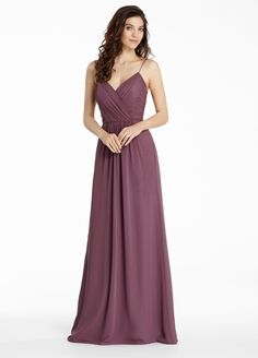 Spaghetti Strap V Neck Pleated Bodice Long Chiffon Bridesmaid Dress