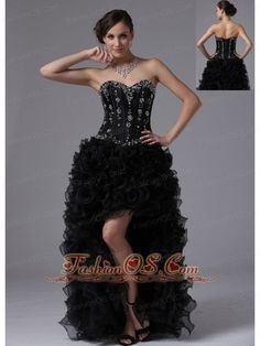 Sacramento California City Black High-low Beaded Bodice and Ruffles For Sweet Prom Dress Sweetheart  http://www.fashionos.com  A high-low gown is hemmed long in the back and just above the knees in the front. This trendy, new style creates a unique, sexy prom dress appearance. It is perfect for showing off long legs and an hourglass figure.