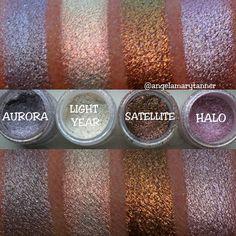 Sparkler Swatches by @angelamarytanner. Makeup Geek Sparklers in Aurora, Light Year, Satellite, and Halo.