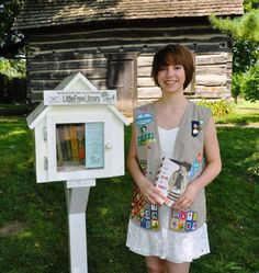 My Cadette daughter, Miranda, recently earned her Girl Scout Silver Award. Her project, Little Free Libraries of Taylor, consisted of constructing and inst Girl Scout Swap, Girl Scout Leader, Daisy Girl Scouts, Girl Scout Troop, Cadette Girl Scout Badges, Girl Scout Silver Award, Little Free Libraries, Free Library, Library Ideas