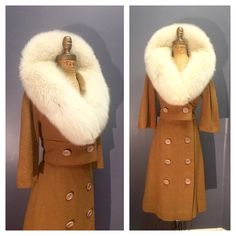 FLUFFY FOX FUR White Collar 1960's Vintage 60s Toasted Almond Camel Brown Wool…