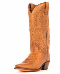 "Women's Santa Rosa Boots - Tan $199.95   Product Details      Tan Mad Cat Leather     12"" Height     Fully Leather Lined     Ultimate Flex Insole     Snip Toe     Cowboy Heel     Leather Outsole"