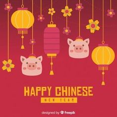 Hanging ornaments chinese new year background Free Vector Chinese New Year Design, Happy Chinese New Year, Chinese Style, Chinese New Year Background, New Years Background, Chines New Year, Pig Illustration, Chinese Patterns, Baby Pigs