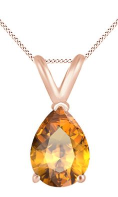 Jewel Zone Us Women's Classic Birthstone Pear Shape Pendant Necklace in 10k Solid Rose Gold (1 1/2 cttw). Crafted in 10K Solid Rose Gold. The fashion Pendant enhance with the Citrine Birthstone of November month bring you GOOD LUCK. Find a special gift for a loved one or a beautiful piece that complements your personal style with jewelry from the Jewel Zone US Collection. Note: Due to the difference between different monitors, the picture may not reflect the actual color of the item. We...