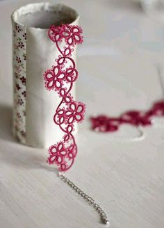 Items similar to Tatted jewelry set: necklace and bracelet in dark raspberry with Tibetan silver finishings - gift for her, bridesmaid gift on Etsy Tatting Armband, Tatting Bracelet, Tatting Jewelry, Lace Jewelry, Tatting Lace, Jewelry Crafts, Jewelry Sets, Silver Jewelry, Tatting Earrings