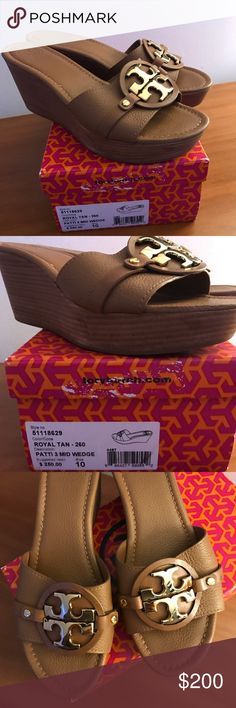 Tory Burch Patti III mid Wedge Royal Tan, size 10/ great condition Tory Burch Shoes Wedges