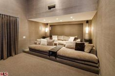 theater room Have a nomination for a jaw-dropping listing that would make a mighty fine House of the Day? Get thee to the tipline and send us your suggestions. We'd love to see what you've got. Home Theater Room Design, Movie Theater Rooms, Home Cinema Room, Home Theater Seating, Home Interior Design, Home Theatre, Movie Rooms, Tv Rooms, Game Rooms