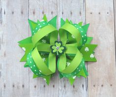 St patricks day hair bow for a baby girl or by ArabellasBows
