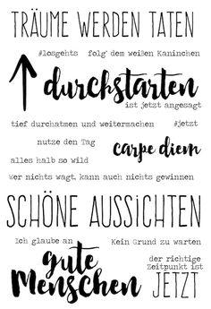 "Klartext-Stempelset ""Träume werden Taten"" von www.danipeuss.de #danipeuss #klartextstempel"