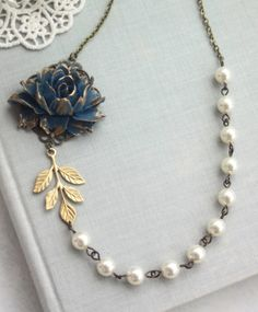 Navy Blue Rose Flower, Ivory Pearls, Gold Leaf Vintage Style Necklace. Bridesmaid Gifts. Something Blue, Dark Blue Flower, Blue Gold Wedding by Marolsha -  https://www.etsy.com/listing/233617668/navy-blue-rose-flower-ivory-pearls-gold?ref=shop_home_active_1