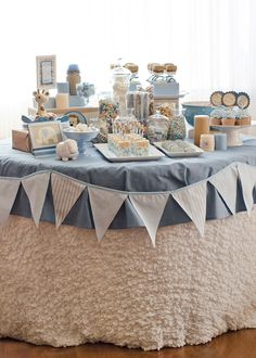 So cute! Dessert table.
