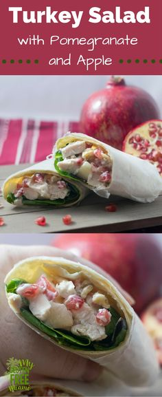 Turkey Salad with pomegranate & apple, the perfect light & delicious meal to use up leftover turkey. Only minutes to put together. via @glutenfreemiami