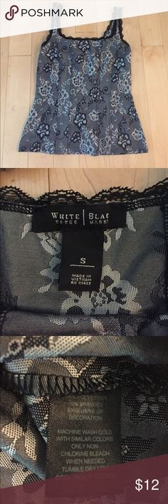White House Black Market Dressy Tank Size Small White House Black Market dressy tank w/corset style seams... Size Small. Black, silver and gray.  Never worn!! From my smoke-free home. White House Black Market Tops