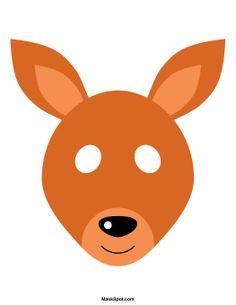 Kangaroo mask templates including a coloring page version of the mask. Free printable PDF at http://maskspot.com/download/kangaroo-mask/