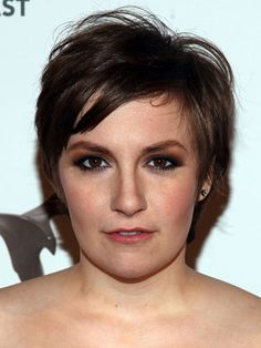 Lena Dunham..sexy eye-makeup....a rich shade on locks makes a short cut super glam....blow-dry & add texturizing spray
