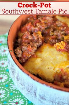 Crock-Pot Southwest Tamale Pie - Enjoy this recipe for Crock-Pot Southwest Tamale Pie and have a fiesta! Created with ground beef and pantry staples like canned tomatoes & cornbread mix! [Gluten Free, Low Fat & Low Sugar] #CrockPotLadies #CrockPot #SlowCooker #GroundBeefRecipes