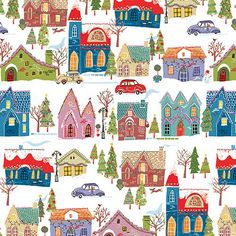 Wonderland - Houses -- I love the old timey whimsy of this fabric I found at Gossypium Quilt shop in Issaquah