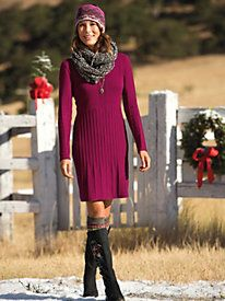 Women's Fine Lines Sweater Dress Outfit