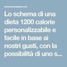 Lo schema di una dieta 1200 calorie personalizzabile e facile in base ai nostri gusti, con la possibilità di uno sgarro ogni tanto!
