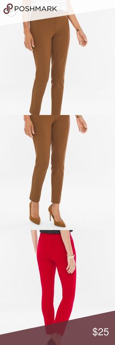 """Chico's Refined Ponte Ankle Pants, Brandy Brown These are a great pair of trouser-type pants that slims and smooths the tummy.  They are slim through the leg and leg opening with a zip and button closure.  Th color is called """"Brandy Brown"""" and looks fabulous with navy blue.  There are back pockets and faux front pockets.  The rise sits just below the natural waist.  The fabric is their tradition high quality Ponte fabric. The are available in Chico's size 0.5 Regular (S=size 6, hip 38 1/2)…"""