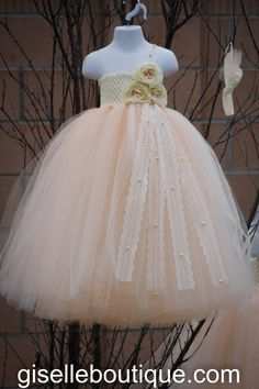 Flower Girl TuTu Dress.Peach Vintage Lace with Pearls TuTu Dress.Wedding . Birthday on Etsy, $115.00