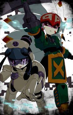 Mega Man Battle Network - Meddy.EXE and Tomahawkman.EXE