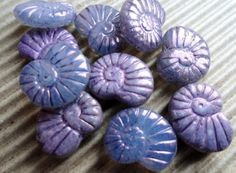16x14mm+Purple+Luster+Shell+Beads++Premium+Czech+by+BeadSoupBeads,+$3.65