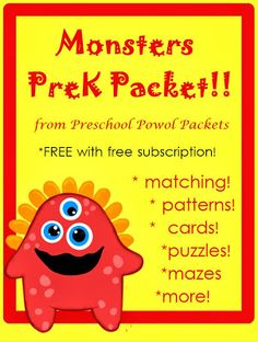 Monster Preschool Packet {FREE} w/ FREE subscription to Free Mini Book Easy Reader Club at Preschool Powol Packets!