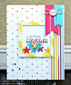 Get Crafty with Lisa:  My First Shaker Card…a Success!  This card features Stampin' Up!'s Sumthin' Sumthin' Stamp Set and Sweet Taffy Designer Series Paper, by Lisa Rhine, www.getcraftywithlisa.com