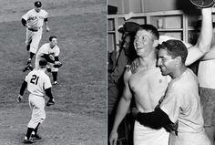 Oct 7, 1952 - In Game 7 of the World Series, second baseman Billy Martin[photo on left]  makes a dramatic running catch on a high infield pop with the bases loaded. The Yankees  took the lead for good on a home run by Mickey Mantle [photo on right, Mantle with Phil Rizzuto] in the sixth inning. Mantle followed up with a RBI single in the seventh inning to give the Yankees a 4-2 lead. Phil Rizzuto, Bull Durham, Billy Martin, Game 7, Mickey Mantle, World Series, New York Yankees, Mlb, Legends