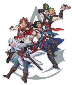 Assassin's Creed And Hetalia Fan art! I love italy In this pic so much!!