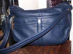 Stone Mountain Blue Leather Shoulder Handbag #StoneMountain #ShoulderHandbag