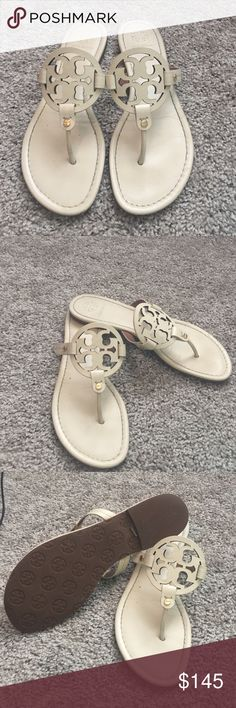 ❗️Tory Burch Miller Sandals Cream❗️ Cream Tory Burch Miller Sandals slight wear no marks or stains only work a handful of times.  No box or bag Tory Burch Shoes Sandals