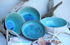 Ciotole in ceramica colore turchese craquelè