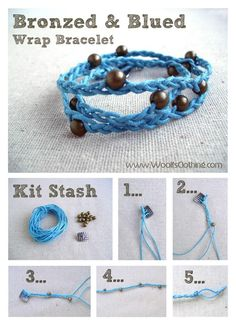 DIY Bronzed and Blued Wrap Bracelet DIY Bracelets. Can also be made with the macrame knots.