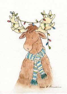 Christmas Moose Art - 5x7 8x10 11x14 Print- Archival Print for Baby and Children- Holiday Home Decor- Moose with Christmas Lights