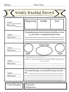 Free weekly reading record with comprehension activities and rubric