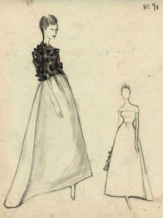 1958 Ensemble du soir , boléro sur robe longue,  Balenciaga Archives Paris