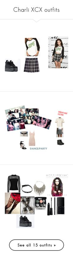 """""""Charli XCX outfits"""" by telletubbies ❤ liked on Polyvore featuring Monki, Charli, Lazy Oaf, Buffalo, Free People, Burberry, Carvela, Reiss, Hot Topic and BCBGMAXAZRIA"""