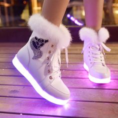 "Fashion 7 color luminous USB charging light up boots Cute Kawaii Harajuku Fashion Clothing & Accessories Website. Sponsorship Review & Affiliate Program opening! shoes with LED luminous, definitely something so fashionable, use this coupon code ""Fanniehuang"" to get all 10% off"