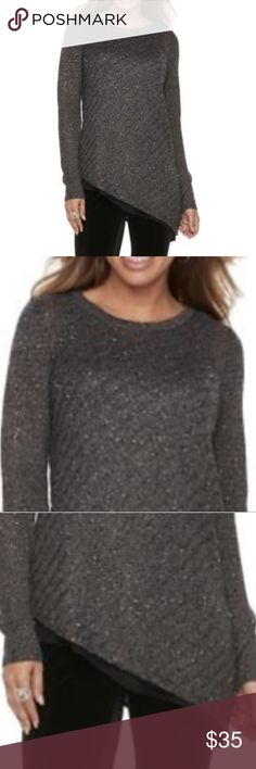 New Asymmetric Sequins Crewneck Small Sweater Top BRaND NEW With TAGS.Give your style an edge with this Apt. 9 asymmetrical Lurex sweater. Incredibly soft constrution with a hint of sparkle (gold sequins) this women's sweater is sure to be a favorite. 	•	Crewneck 	•	Long sleeves 	•	Asymmetrical hem 	•	Polyester, rayon, metallic 	•	Hand wash  	•	Reasonable offers considered but no lowballing please. Bundle 2+ items for and additional discount and to pay just one shipping charge. I videotape…