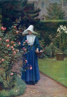 The Roses' Day by Edmund Blair Leighton :: artmagick.com |  His Dad was a wonderful painter in his few 30 years and his Mother a well known Musician.