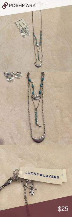 Lucky Brand necklace Turquoise layered necklace Lucky Brand Jewelry Necklaces