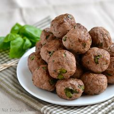 Ricotta Basil Meatballs.  I LOVE!!! The Ricotta works in a way you don't need the egg for a binder!